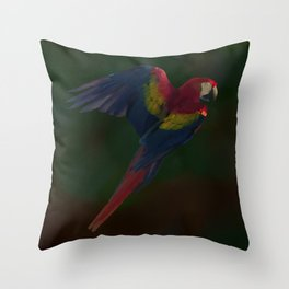 Light and Shadow Scarlet Macaw Throw Pillow