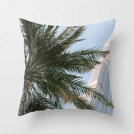 Palm tree below the Burj Khalifa in Dubai | Travel photography art print photo Throw Pillow