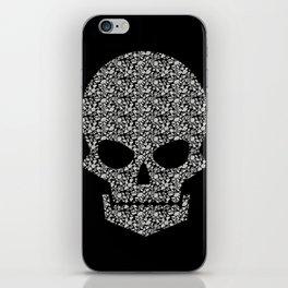 Skull + flowers (white) iPhone Skin
