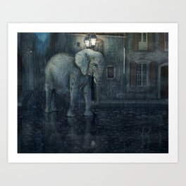 Elephant goes to Paris Art Print