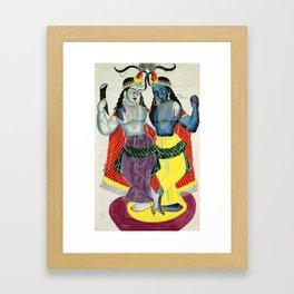 Balarama and Krishna - Vintage Indian Art Print Framed Art Print