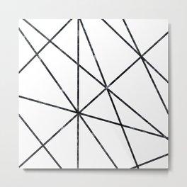 Black marble geometric lines Metal Print