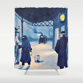 12,000pixel-500dpi - Paul Gustav Fischer - The Last Train - Digital Remastered Edition Shower Curtain