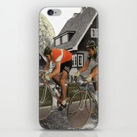 tour de france iPhone & iPod Skins featuring Le tour de France by a wardrobe in the space