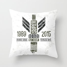Military emblem racing club in retro style Throw Pillow