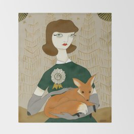 Depending upon the nature of the beast - girl with fox Throw Blanket
