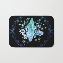 Surfing, tropical design with surfboard and flowers Bath Mat