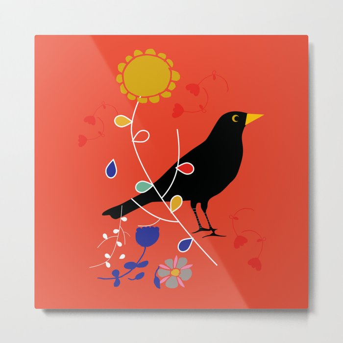 Black Bird orange Metal Print