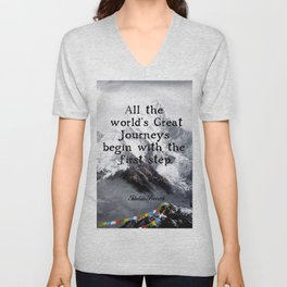 All the world's Great Journeys Motivational Tibetan Proverb With Panoramic View Of Everest Mountain Unisex V-Neck