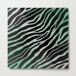 Ripped SpaceTime Stripes - Mint/White Metal Print