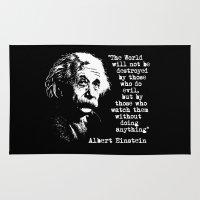 einstein Area & Throw Rugs featuring Albert Einstein by PsychoBudgie