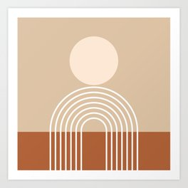 Geometric Lines in Terracotta and Beige 47 (Sun and Rainbow abstraction) Art Print