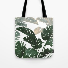 green leaves monstera Tote Bag