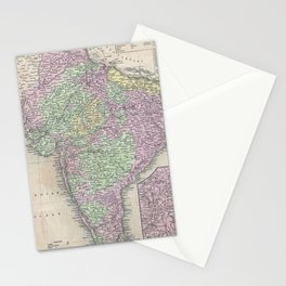Vintage Map of India (1853) Stationery Cards