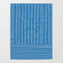 Digital Stitches detail 1 blue Poster