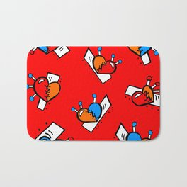 Hearts with Stitches - Blue Red Orange - Bright Red Bath Mat