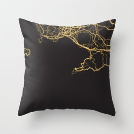 NAPLES ITALY GOLD ON BLACK CITY MAP Throw Pillow