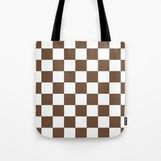 Checker (Coffee/White) Tote Bag