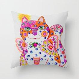 Angel cat3 Throw Pillow