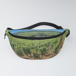 View of in the vineyard in Burgundy Bourgogne home of pinot noir and chardonnay in summer day with blue sky. Cote d'Or. Fanny Pack