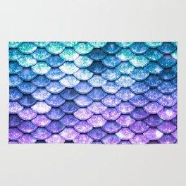 Mermaid Ombre Sparkle Teal Blue Purple Rug