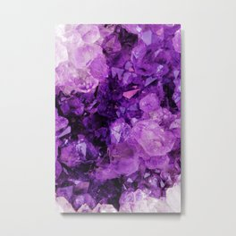 Purple Amethyst Crystals Metal Print