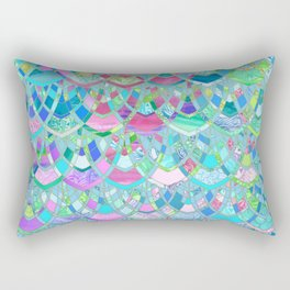 Art Deco Watercolor Patchwork Pattern 2 Rectangular Pillow