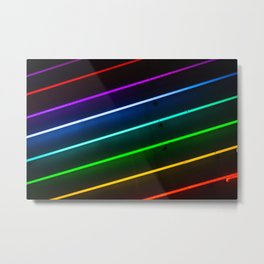 Rainbow Neon Stripes Metal Print
