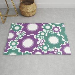 A Cog design in modern colours Rug