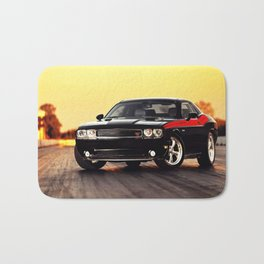 Black Challenger RT Classic with red badging and stripes Bath Mat