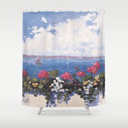 Geraniums by the Bay Shower Curtain