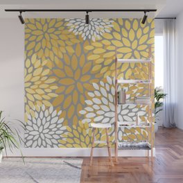 Floral Pattern, Yellow, Pale Yellow and Gray Wall Mural