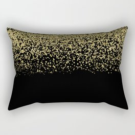 Sparkling gold glitter confetti on black background- Luxury pattern Rectangular Pillow