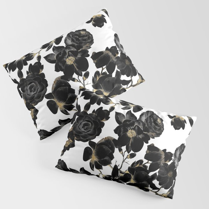 Modern Elegant Black White and Gold Floral Pattern Kissenbezug