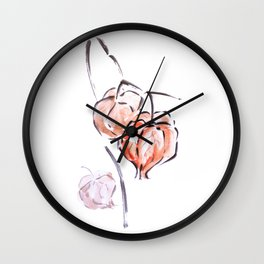 Physalis autumn harvest festival sumie ink painting Wall Clock