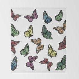 Multi Colored Butterfly Pattern Throw Blanket