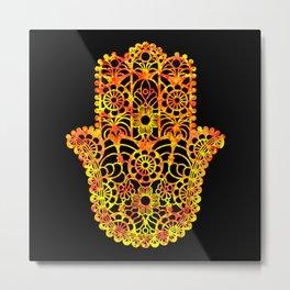 Fire Watercolor Hamsa Metal Print