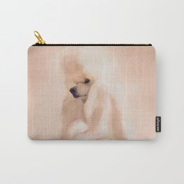 Elegant Standard White Poodle Mixed Media Carry-All Pouch
