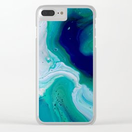 Abstract Mable Colorful Blue Turquoise Fluid Acrylic Painting Design Clear iPhone Case