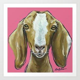 Goat Art, Farm Animal Painting, Cute Animal Art Art Print