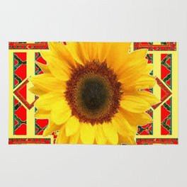 WESTERN RED ART DECO YELLOW SUNFLOWER ART Rug