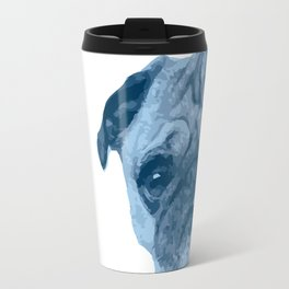 I love my dog - Pug, blue Travel Mug