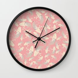 Pattern Artic Wolves in Pink Wall Clock