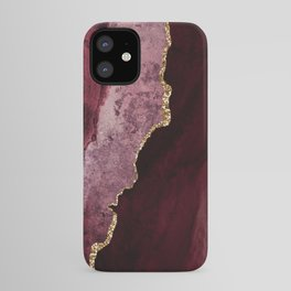 Agate, Burgundy Pink Faux Gold iPhone Case