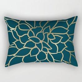 Festive, Floral Prints, Line Art, Dark Teal and Gold Rectangular Pillow