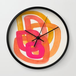 Funky Retro 70' Style Pattern Orange Pink Greindent Striped Circles Mid Century Colorful Pop Art Wall Clock
