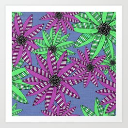 Purple and Green Striped Sketch Flowers Illustrated Pattern Art Print