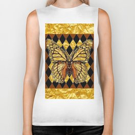 ABSTRACTED BROWN & GOLD MONARCH BUTTERFLY Biker Tank