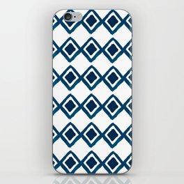 Geometrical navy blue watercolor hand painted diamonds iPhone Skin