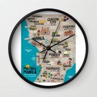 philippines Wall Clocks featuring Metro Manila, Philippines by Reg Silva / Wedgienet.net